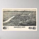 Missoula, MT Panoramic Map - 1891 Poster