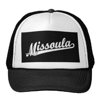 Missoula script logo in white distressed trucker hat