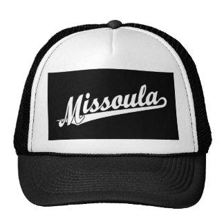 Missoula script logo in white trucker hat