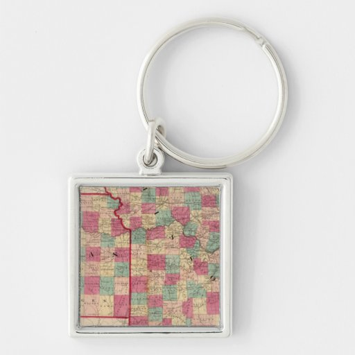 Missouri and Kansas Silver-Colored Square Keychain