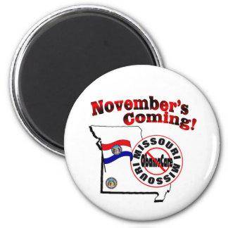 Missouri Anti ObamaCare – November's Coming! 2 Inch Round Magnet