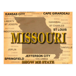 Missouri Antique Map Postcard