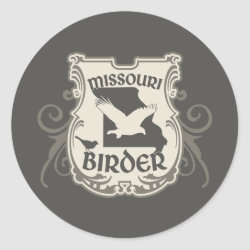 Round Sticker with Missouri Birder design