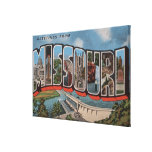 Missouri (Dam View) - Large Letter Scenes Gallery Wrapped Canvas