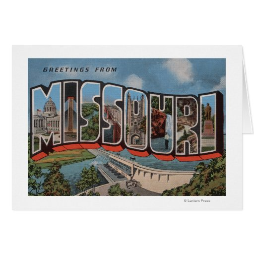 Missouri (Dam View) - Large Letter Scenes Greeting Card