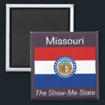 """Missouri Flag Magnet<br><div class=""""desc"""">An authentic premium quality image of the flag of Missouri set between the state name and nickname over a flag-color background.</div>"""