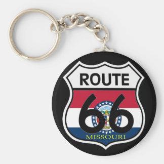 Missouri Flag Route 66 Shield Keychains