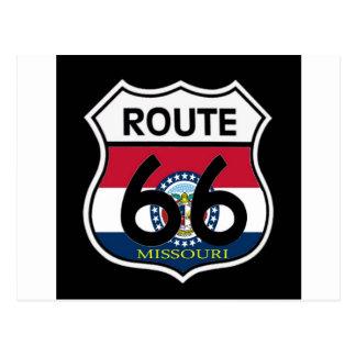 Missouri Flag Route 66 Shield Postcard