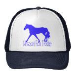 Missouri Fox Trotter Blue Horse Silhouette Mesh Hats
