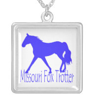 Missouri Fox Trotter Blue Horse Silhouette Custom Necklace