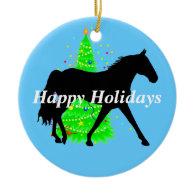 Missouri Fox Trotter Silhouette Happy Holidays Christmas Tree Ornaments