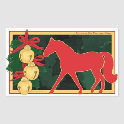 Missouri Fox Trotting Horse Jingle Bells Christmas Rectangular Stickers
