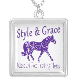 Missouri Fox Trotting Horse Style & Grace Square Pendant Necklace