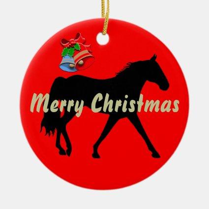 Missouri Foxtrotter Silhouette Merry Christmas Christmas Tree Ornaments