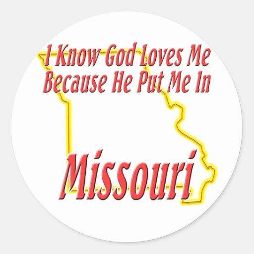 Missouri - God Loves Me Round Stickers