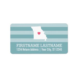 Missouri Home State City Map - Custom Wedding Label