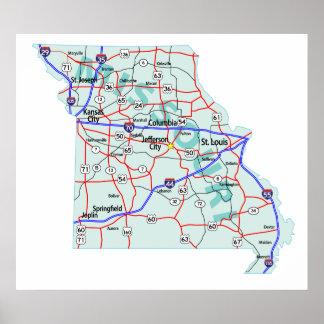 Missouri Interstate Map Print
