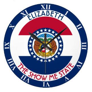 Missouri la demostración yo bandera personalizada reloj redondo grande