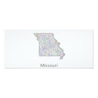 Missouri map 4x9.25 paper invitation card