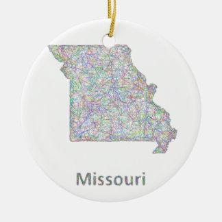 Missouri map ceramic ornament