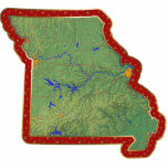 "Missouri Map Christmas Ornament Cut Out<br><div class=""desc"">This acrylic ornament shaped from a relief map of Missouri surrounded by festive trim will add novel Missourian flair to your seasonal decorations. Also available as a pin,  magnet or keychain. 