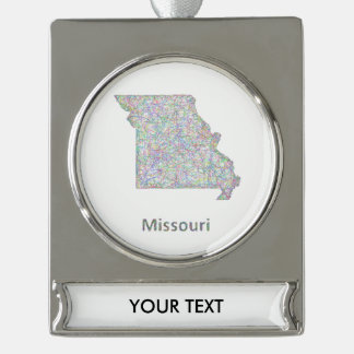 Missouri map silver plated banner ornament