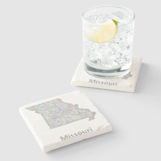 Missouri map stone coaster