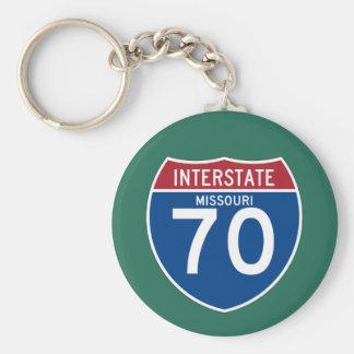 Missouri MO I-70 Interstate Highway Shield - Basic Round Button Keychain
