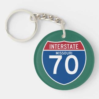 Missouri MO I-70 Interstate Highway Shield - Double-Sided Round Acrylic Keychain