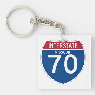Missouri MO I-70 Interstate Highway Shield - Double-Sided Square Acrylic Keychain