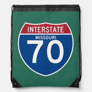 Missouri MO I-70 Interstate Highway Shield - Drawstring Bag