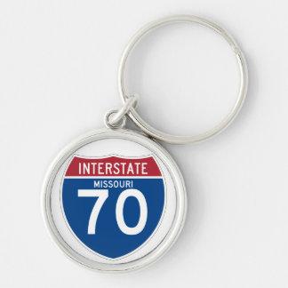 Missouri MO I-70 Interstate Highway Shield - Silver-Colored Round Keychain