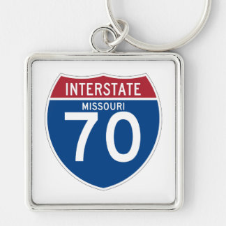 Missouri MO I-70 Interstate Highway Shield - Silver-Colored Square Keychain