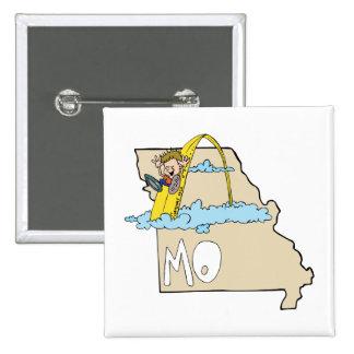 Missouri MO Map with Saint Louis Arch Cartoon Button