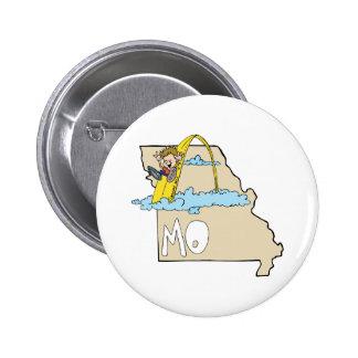 Missouri MO Map with Saint Louis Arch Cartoon Pin