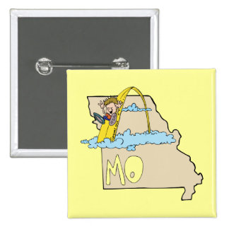Missouri MO Map with Saint Louis Arch Cartoon Pinback Button