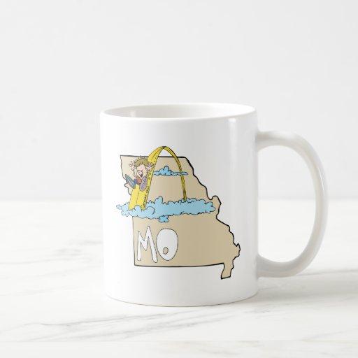 Missouri MO Map with Saint Louis Arch Cartoon Classic White Coffee Mug