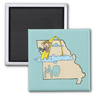 Missouri MO Map with Saint Louis Arch Cartoon Fridge Magnets