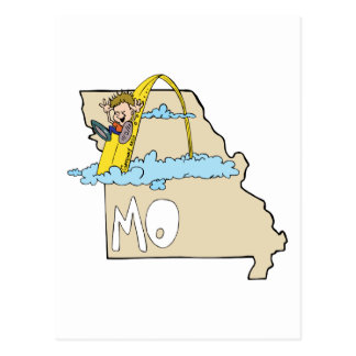 Missouri MO Map with Saint Louis Arch Cartoon Postcard