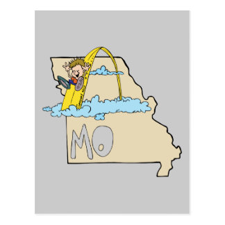Missouri MO Map with Saint Louis Arch Cartoon Post Cards