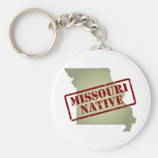 Missouri Native Stamped on Map Key Chains
