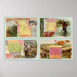 Missouri, Oregon, Iowa, North Dakota Posters