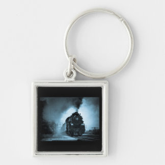 Missouri Pacific Steam Passenger Cyan Silver-Colored Square Keychain