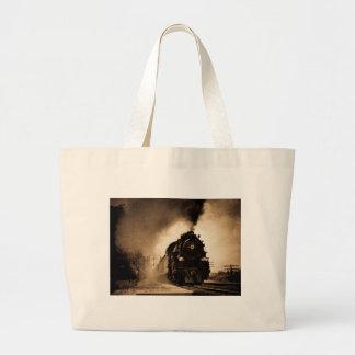 Missouri Pacific Steam Passenger Sepia Large Tote Bag