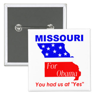 Missouri para Obama Pin Cuadrada 5 Cm