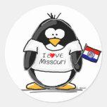 Missouri penguin round stickers