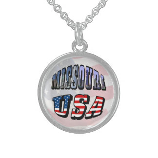 Missouri Picture and USA Text Sterling Silver Necklace