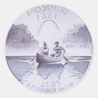 Missouri Quarter Original Artwork Watercolor Classic Round Sticker