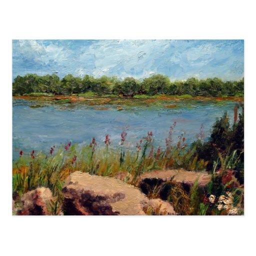 Missouri River Oil Landscape Painting Postcard