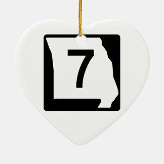 Missouri Route 7 Ceramic Ornament